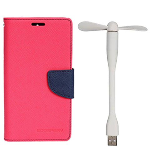 Wallet Flip Case Back Cover For Samsung J2 - (Pink)+Flexible Stylish Mini USB Fan in White color By Style Crome