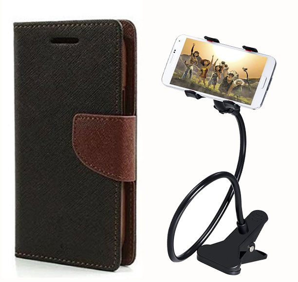 Fancy Flip Case Back Cover For Nokia Lumia 640 XL (Black Brown) + 360 Rotating Mobile lazy stand by  Aart store.