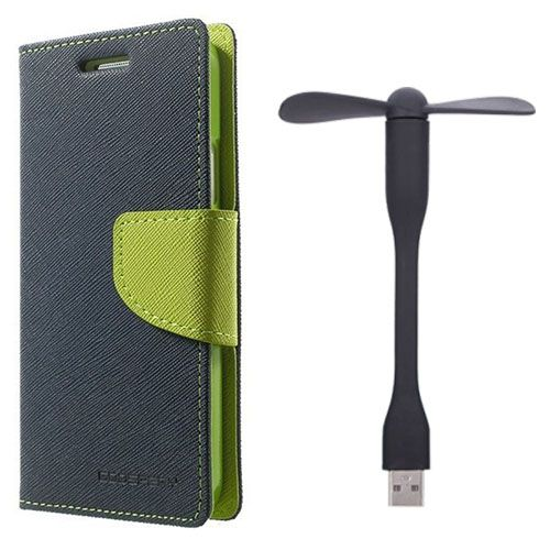 Wallet Flip Case Back Cover For Micromax Q372 - (Blue)+Flexible Stylish Mini USB Fan in Black color By Style Crome