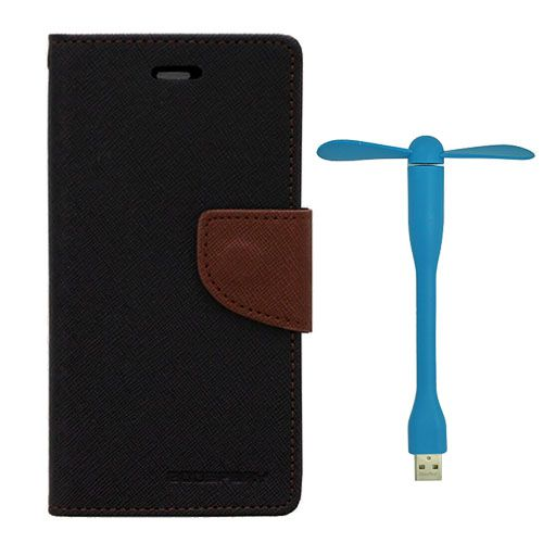 Wallet Flip Case Back Cover For Micromax Q372 - (Blackbrown)+Flexible Stylish Mini USB Fan in Blue color By Style Crome
