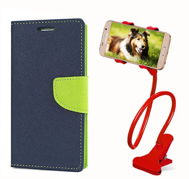 Fancy Flip Back Cover For Nokia Lumia 720 (Blue) + 360 Rotating Bed Mobile lazy stand by  style crome.