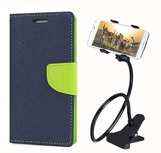 Fancy Flip Back Cover For Samsung Galaxy Note 3 neo (Blue) + 360 Rotating Bed Mobile lazy stand by  style crome.