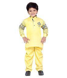 AJ Dezines Yellow Cotton Kurta Pajama Set