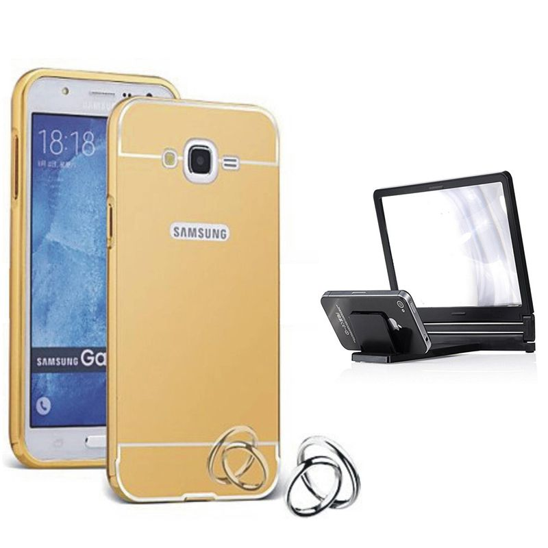 Mirror Back Cover For Samsung Galaxy A8 + 3d magnifier mobile holder free by Style Crome.