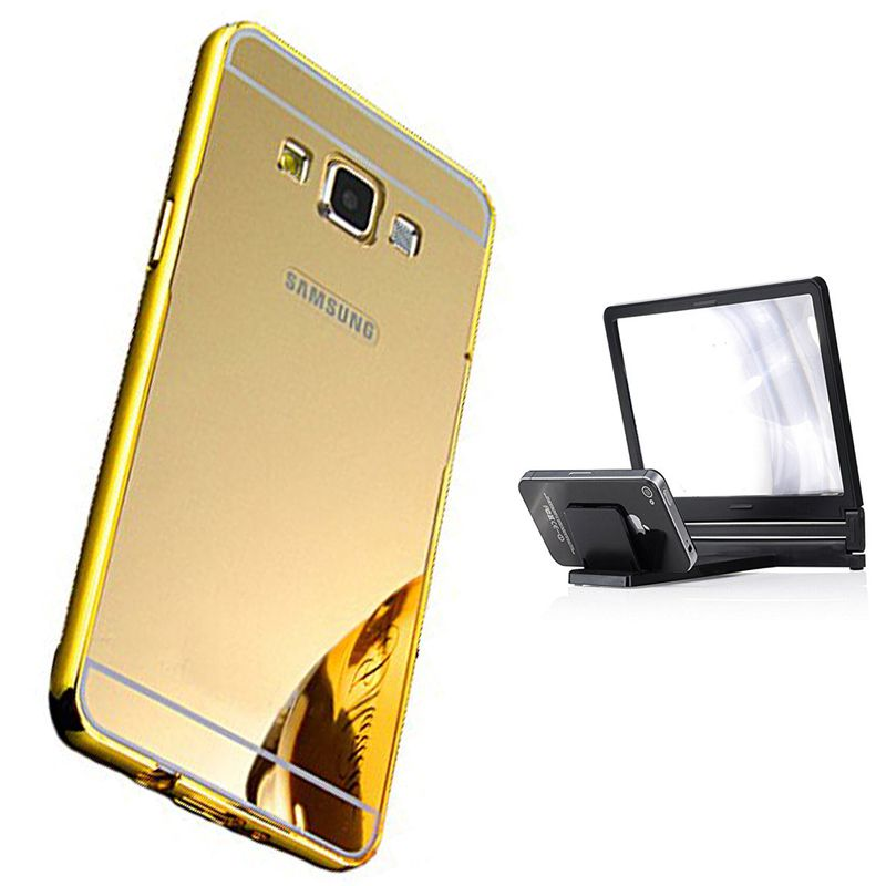 Mirror Back Cover For Samsung Galaxy On5 + 3d magnifier mobile holder free by Style Crome.