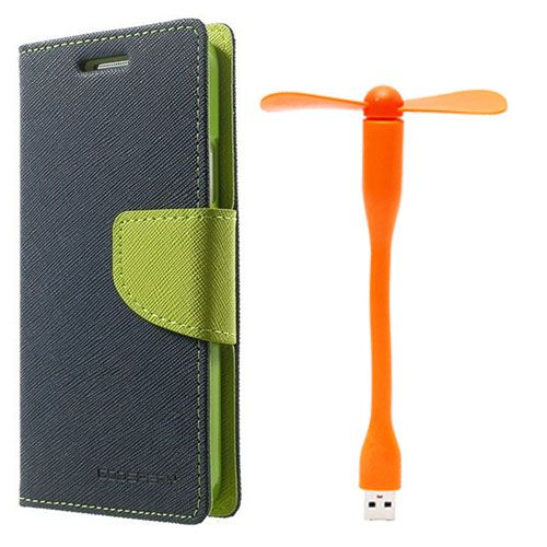Wallet Flip Case Back Cover For Sony Xperia Z ultra - (Blue)+Flexible Stylish Mini USB Fan in Orange color By Style Crome