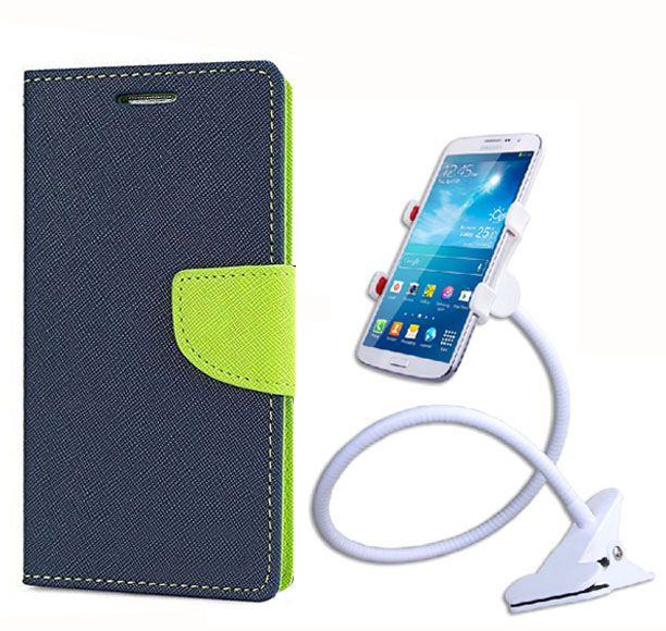 Fancy Flip Back Cover For Apple iPhone 5 (Blue) + 360 Rotating Bed Mobile lazy stand by  style crome.