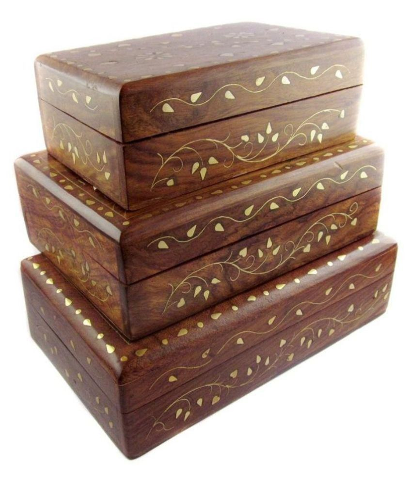 ikashan Brown Wooden Jewellery Box - Set of 3