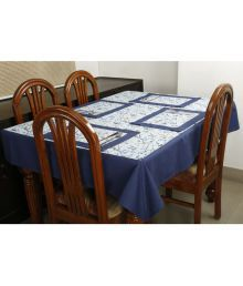Dekor World 6 Seater Cotton Set Of 7 Table Cover & Table Mats - 633943778870