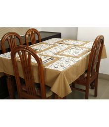 Dekor World 6 Seater Cotton Set Of 7 Table Cover & Table Mats - 664660422758