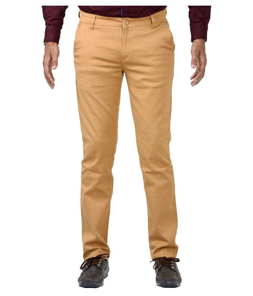 Indigen Khaki Slim Flat Trouser