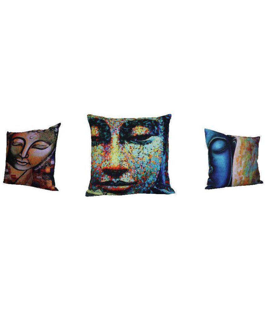 Adishma Set of 3 Cotton Cushion Covers 40X40 cm (16X16)