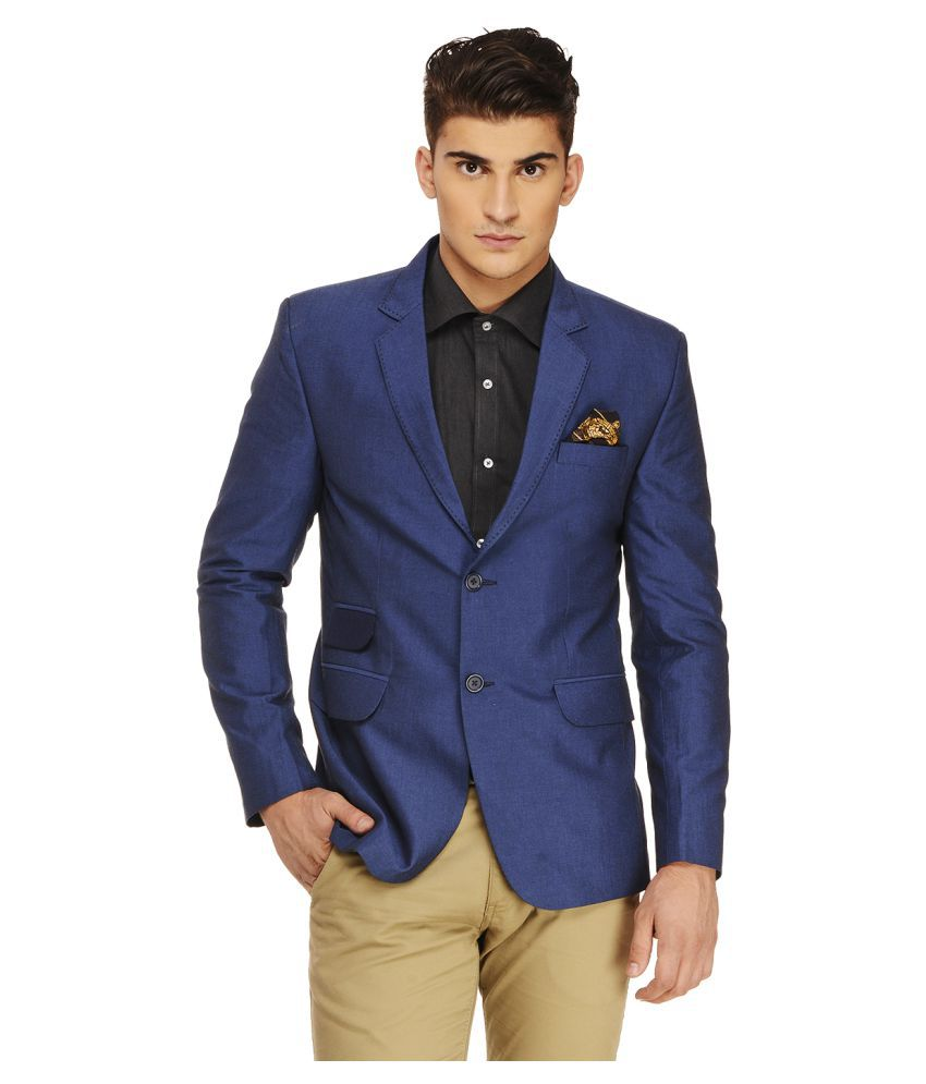 Ennoble Blue Solid Casual 2 Piece Suits