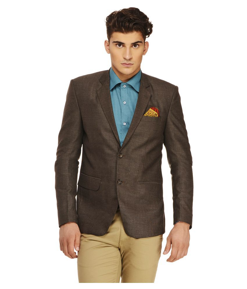 Ennoble Brown Solid Casual 2 Piece Suits