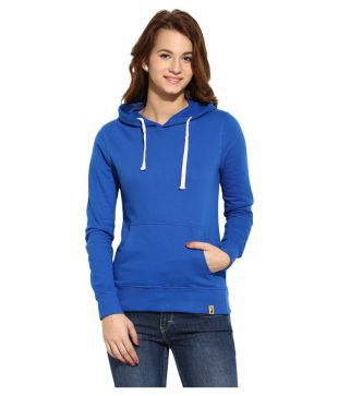 Campus Sutra Blue Cotton Hooded