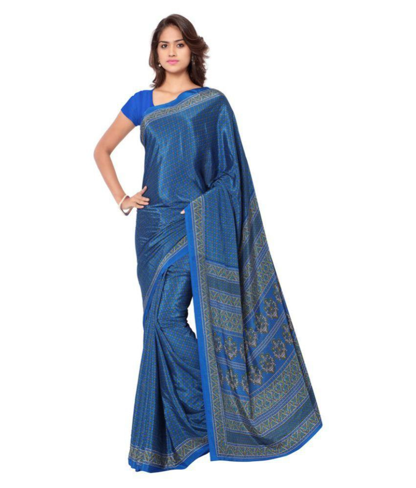Ligalz Blue Crepe Saree