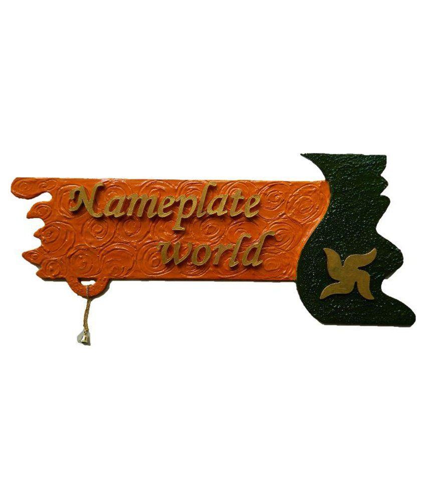 Nameplateworld Divine Saffron Wooden Name Plate Decorative Plate Brown