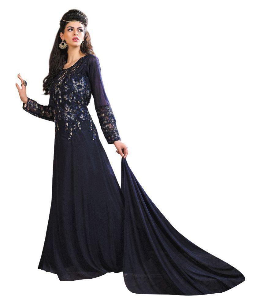 Aasvaa Navy Chiffon Dress Material