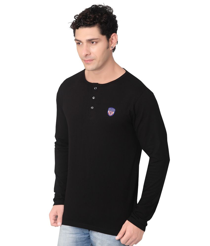 Black t shirt snapdeal -  Free Spirit Black Henley T Shirt