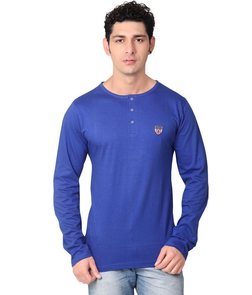 Free Spirit Royal Blue Henley T Shirt