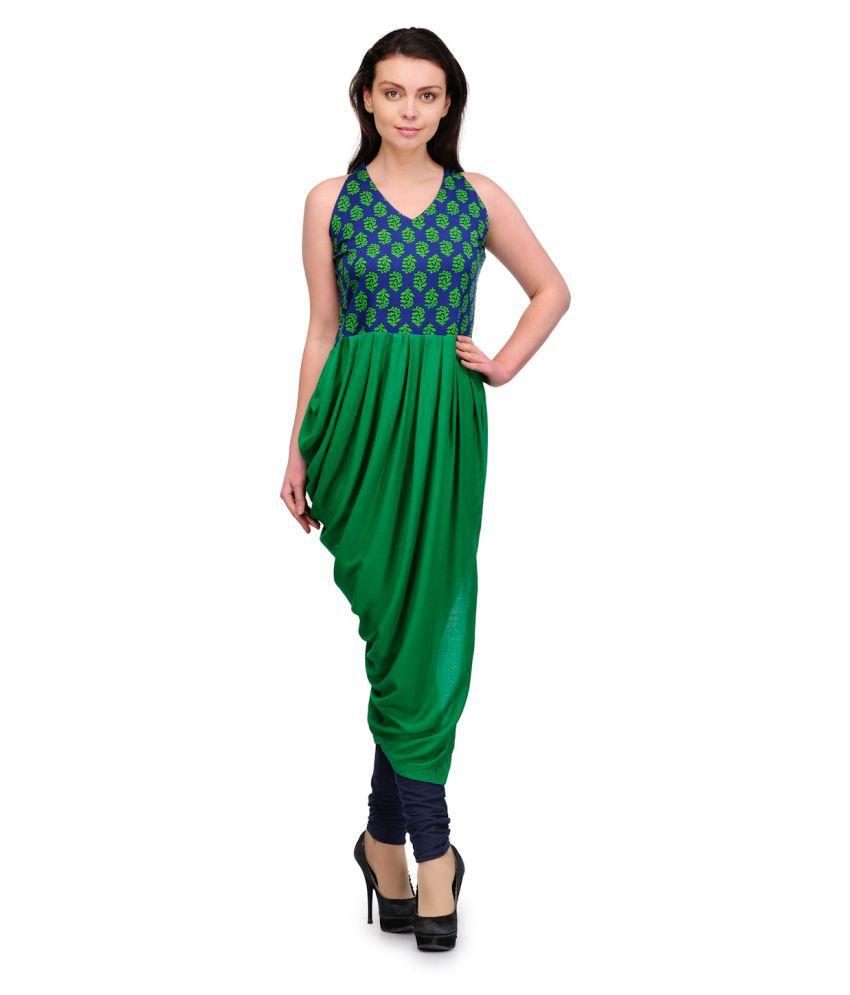AMoCo Apparels Green Cotton Dhoti style Kurti