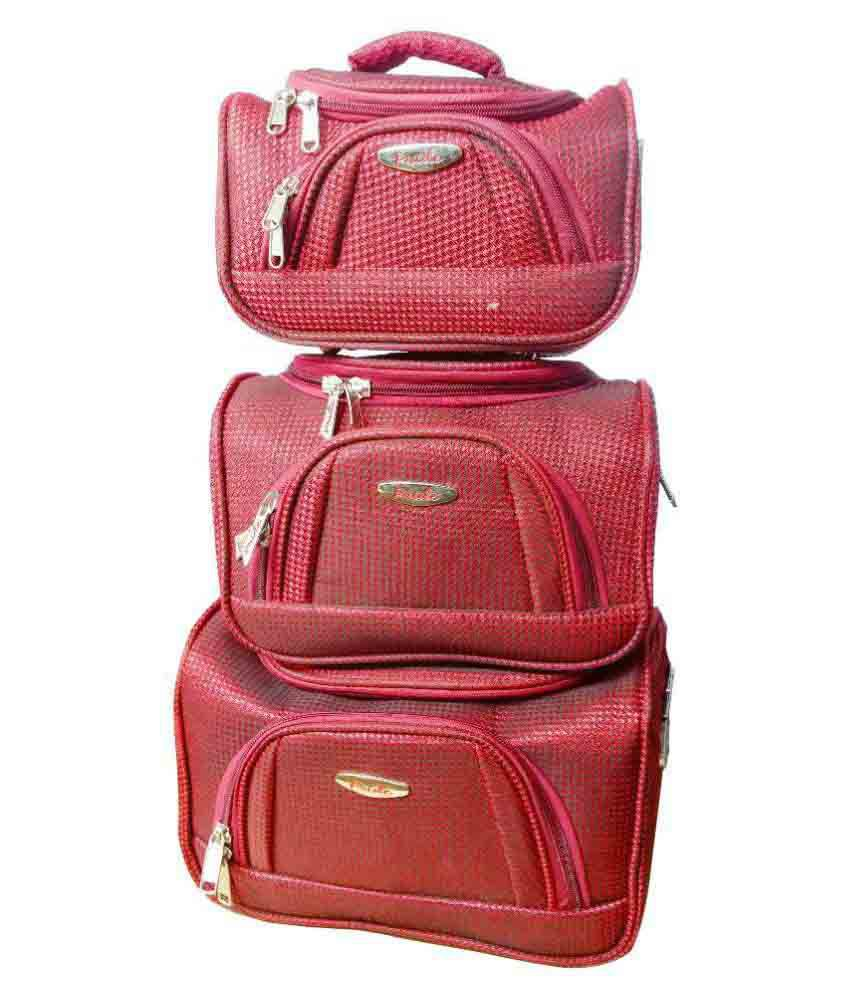 Pride Maroon Vanity Kit and pouches - 3 Pcs