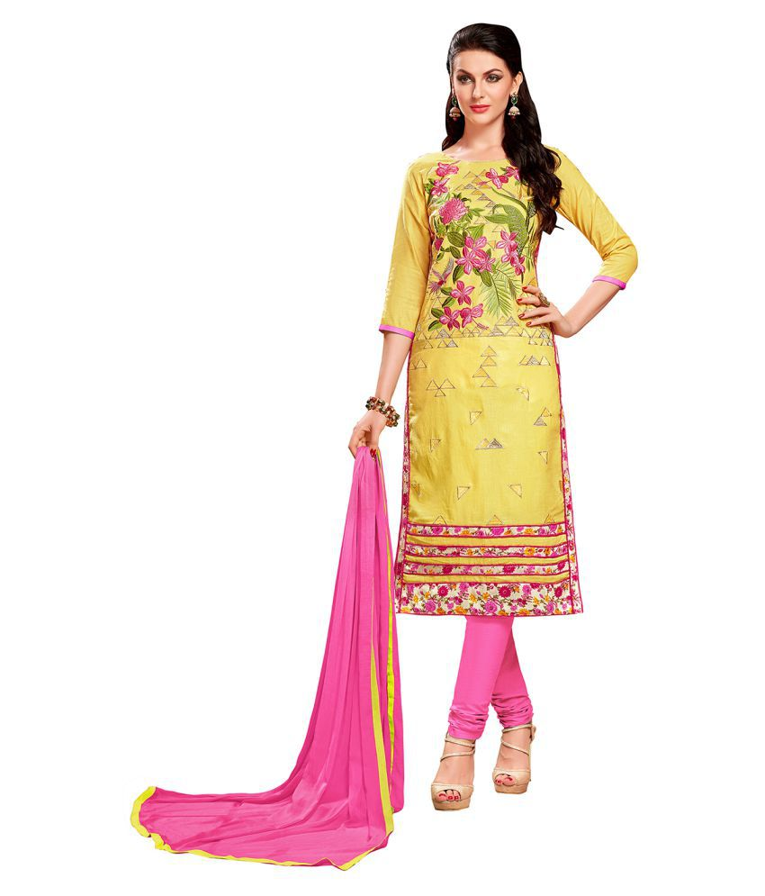 Maroosh Yellow and Beige Cotton Blend Straight Semi-Stitched Suit