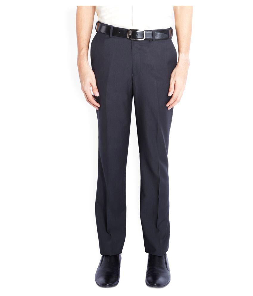 Park Avenue Black Regular Flat Trouser
