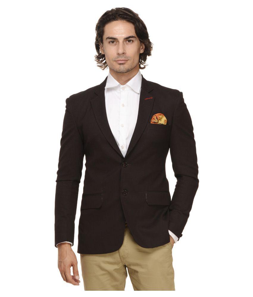 Ennoble Maroon Solid Casual Tuxedo
