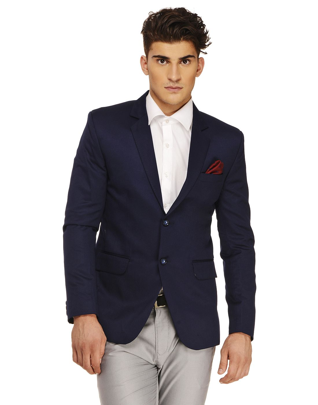 Ennoble Navy Solid Casual 2 Piece Suits