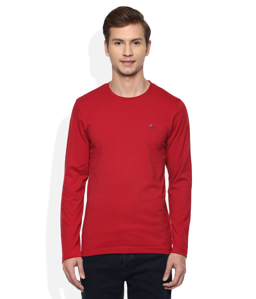 Monte Carlo Red Round Neck Full Solids T-Shirt