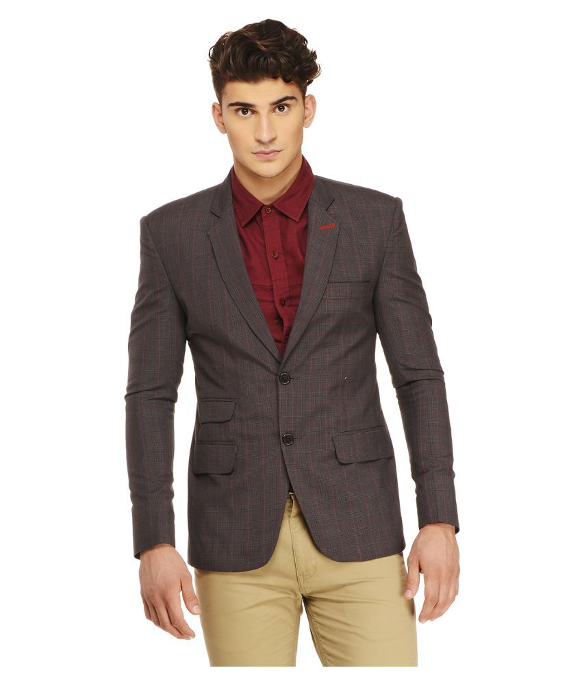 Ennoble Brown Checks Casual 2 Piece Suits