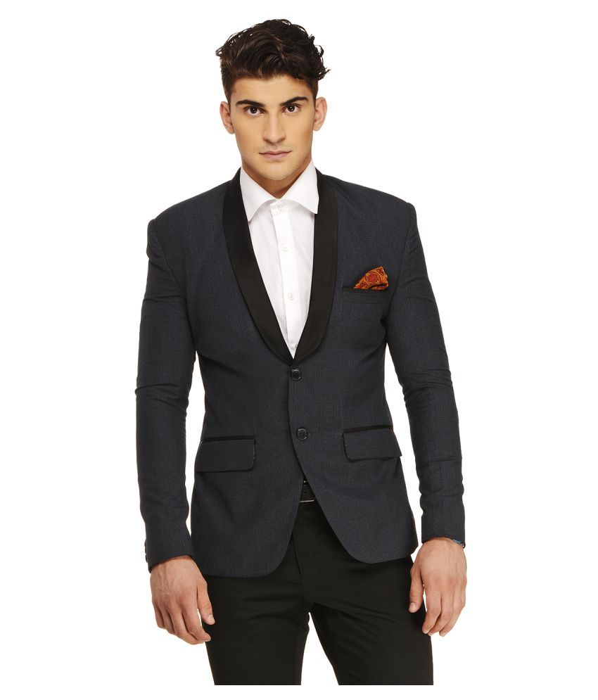 Ennoble Navy Checks Casual 2 Piece Suits