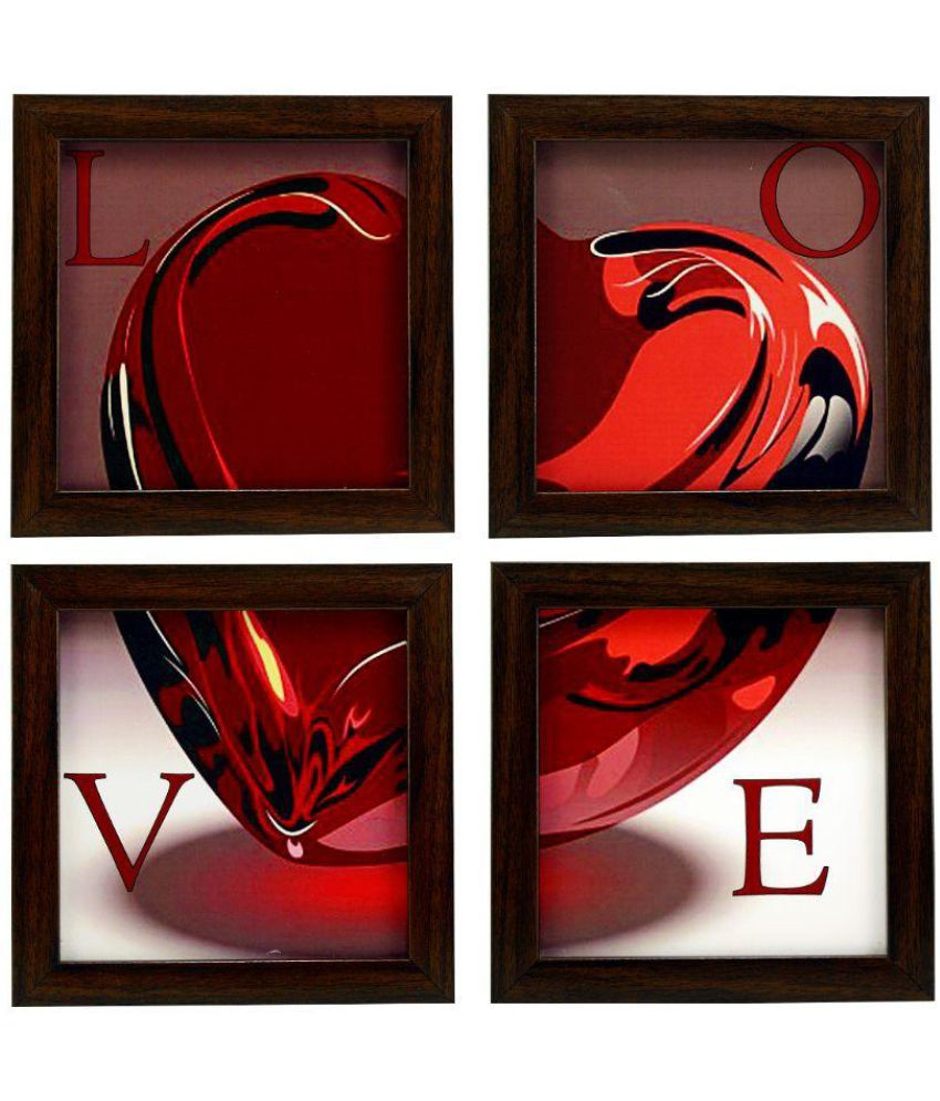 Indianara 4 Framed Wall Hanging Love Heart MDF Art Prints With Frame 4 Combination