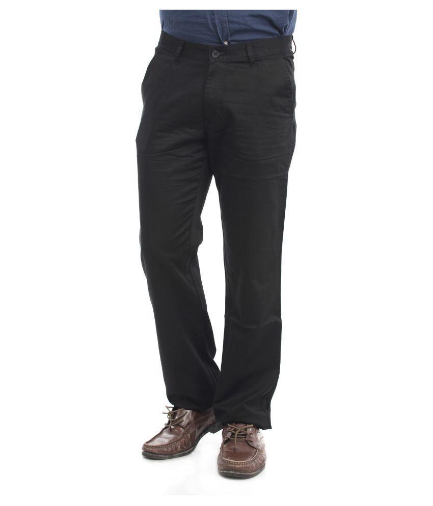 Thunder Black Regular Flat Trouser