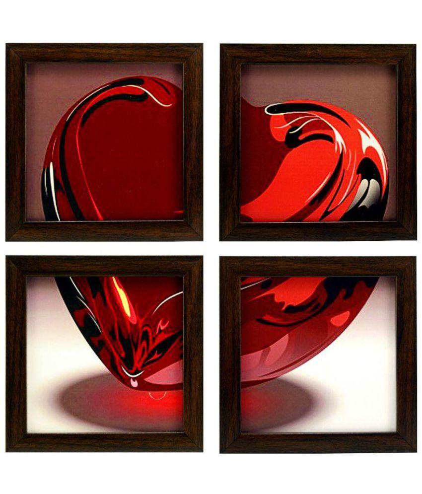Indianara Love Heart MDF Art Prints With Frame 4 Combination