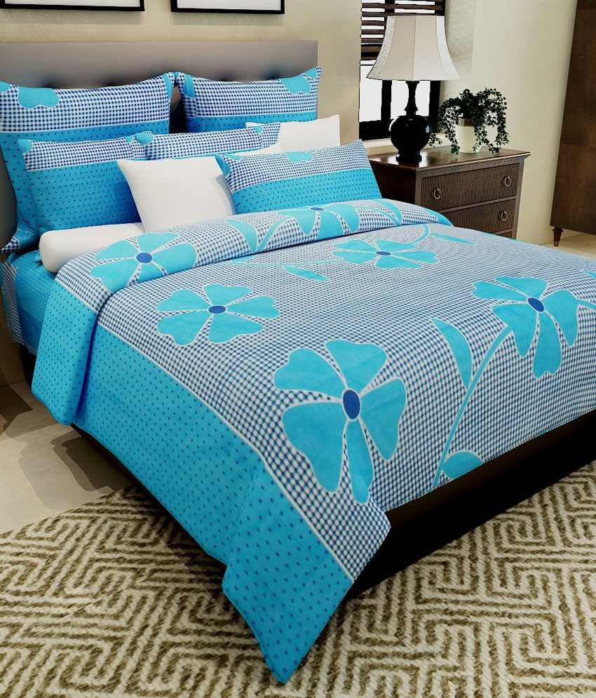 Home Candy 100% Cotton Blue Flowers and Checks Double Bed Sheet with 2 Pillow Covers