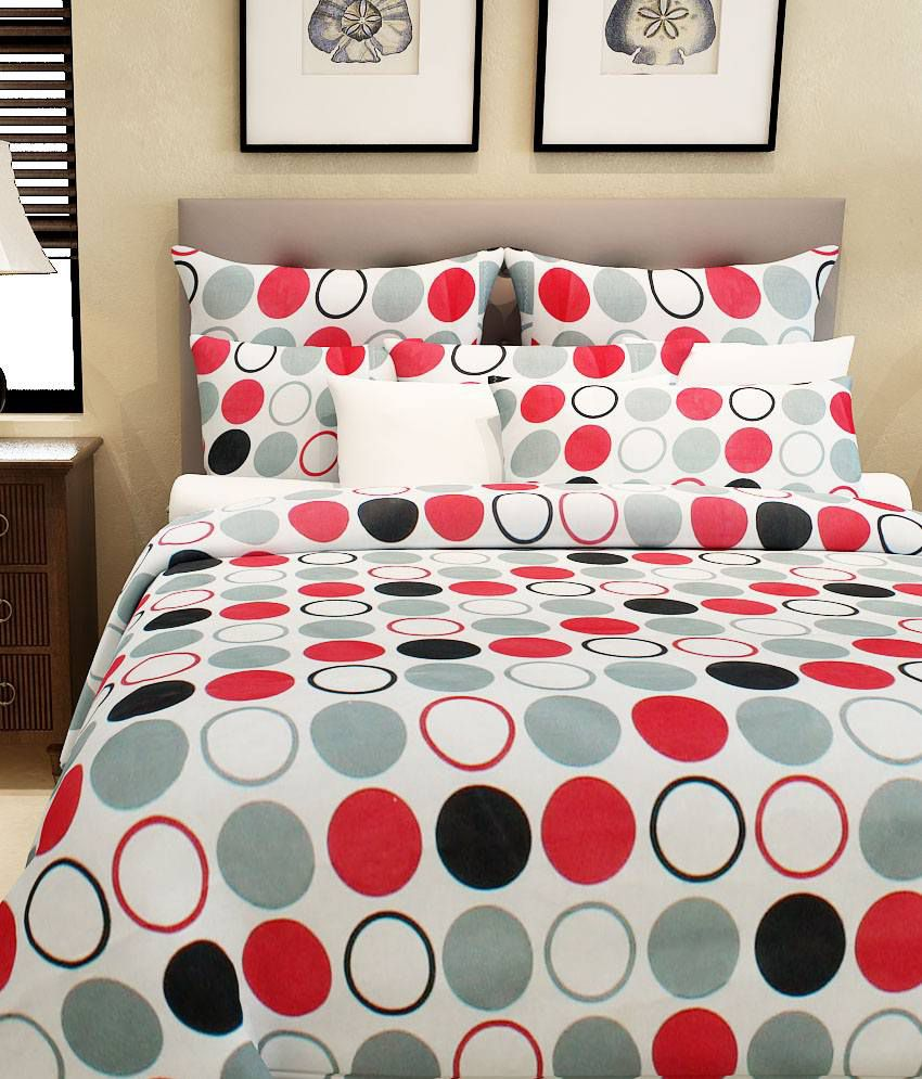 Home Candy 100 Cotton Multi Polka Dots Double Bed Sheet With 2 Pillow Covers