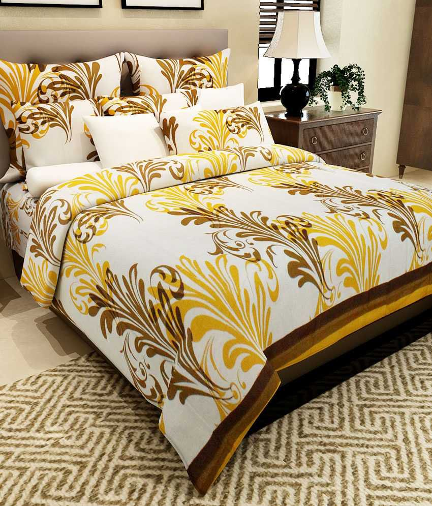 Wonderful Home Candy Yellow Paisley Cotton Double Bed Sheet With 2 Pillow Covers ...