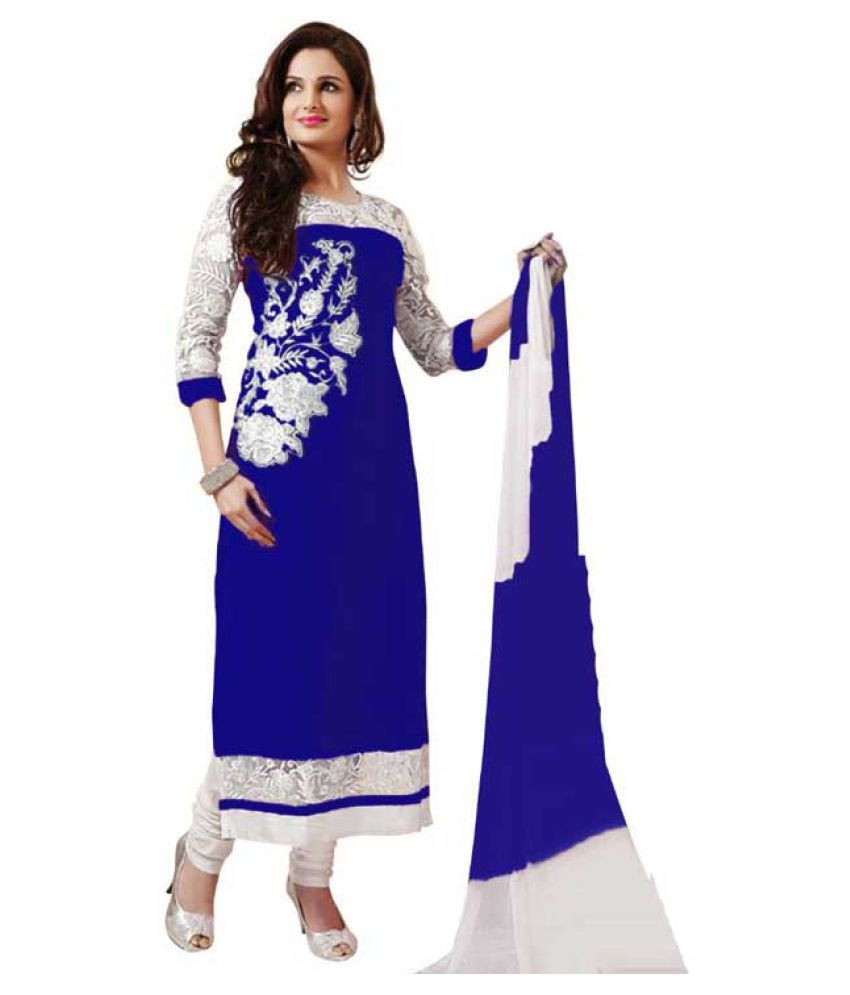Anarkali Salwar Suits Royal Blue Nazneen Dress Material