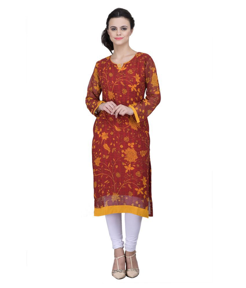 Vimlon Multicoloured Georgette Straight Kurti