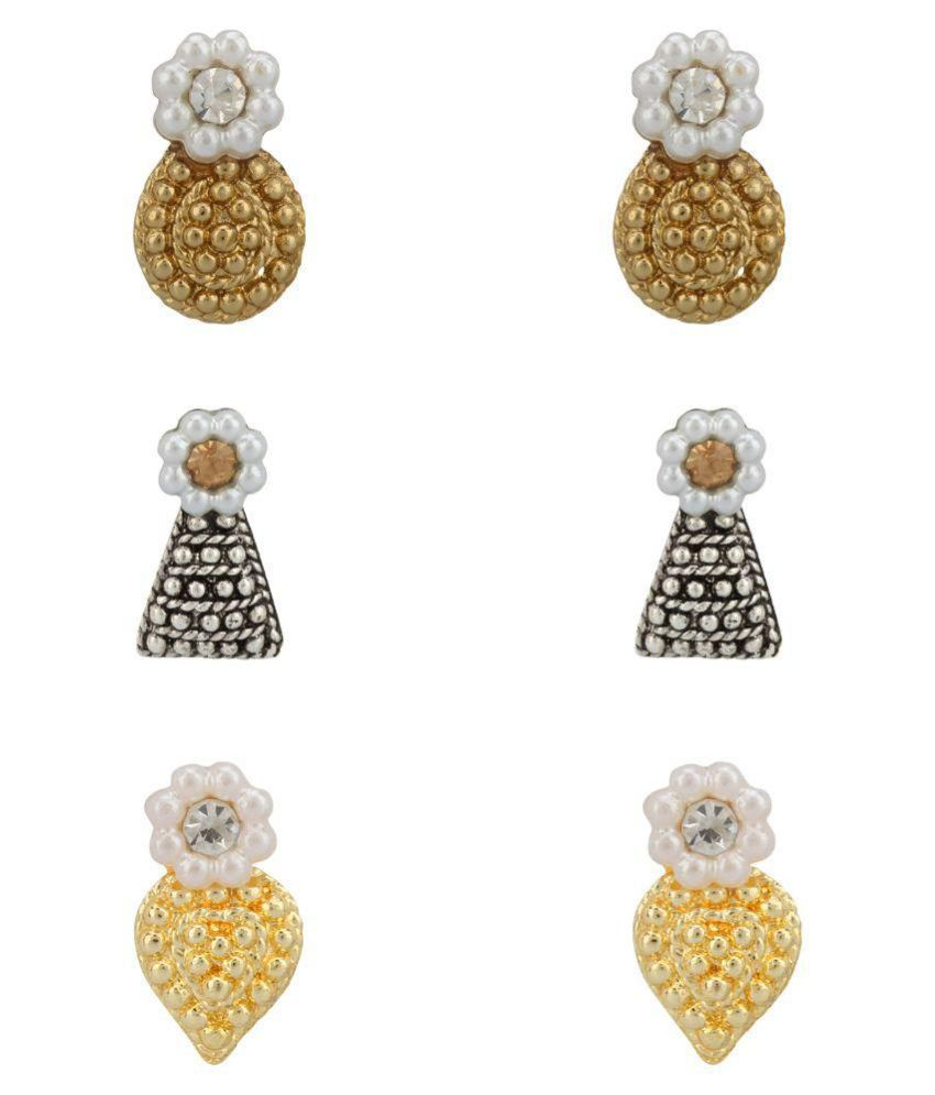 Styfa-Style N Fashion Multicolour Studs Earrings - Set of 3