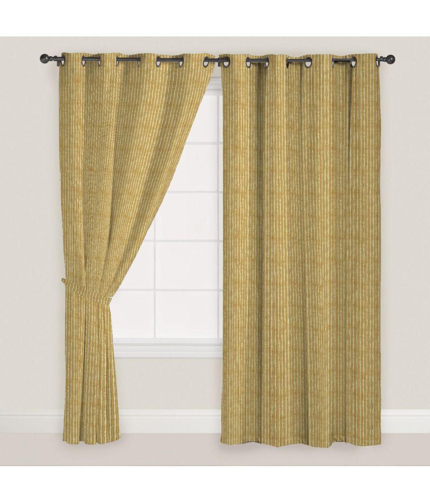 Presto Set of 2 Window Eyelet Curtains Stripes Beige