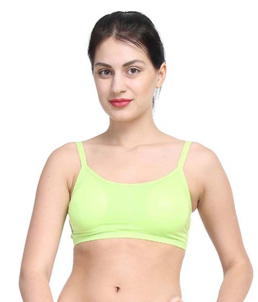 Dealseven Fashion Green Cotton Lycra Cami bra