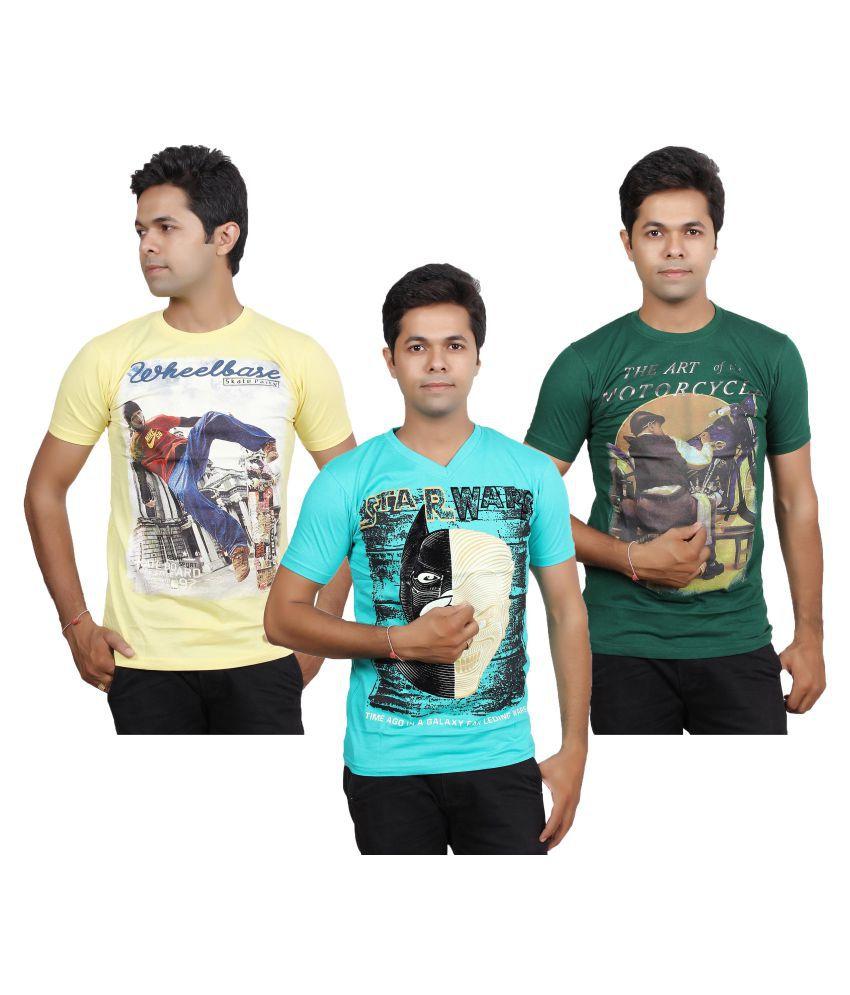 JG Forceman Multi Round T-Shirt Pack of 3
