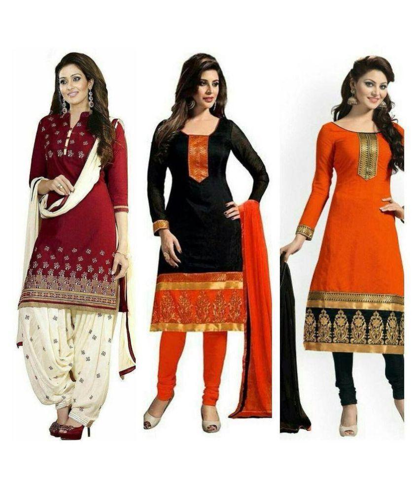 Ekta Fashion Multicoloured Cotton Dress Material