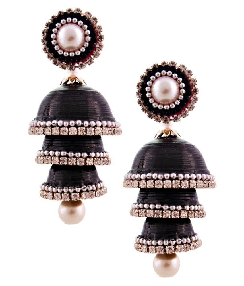 Gomati Ethnic Black Jumki Earrings