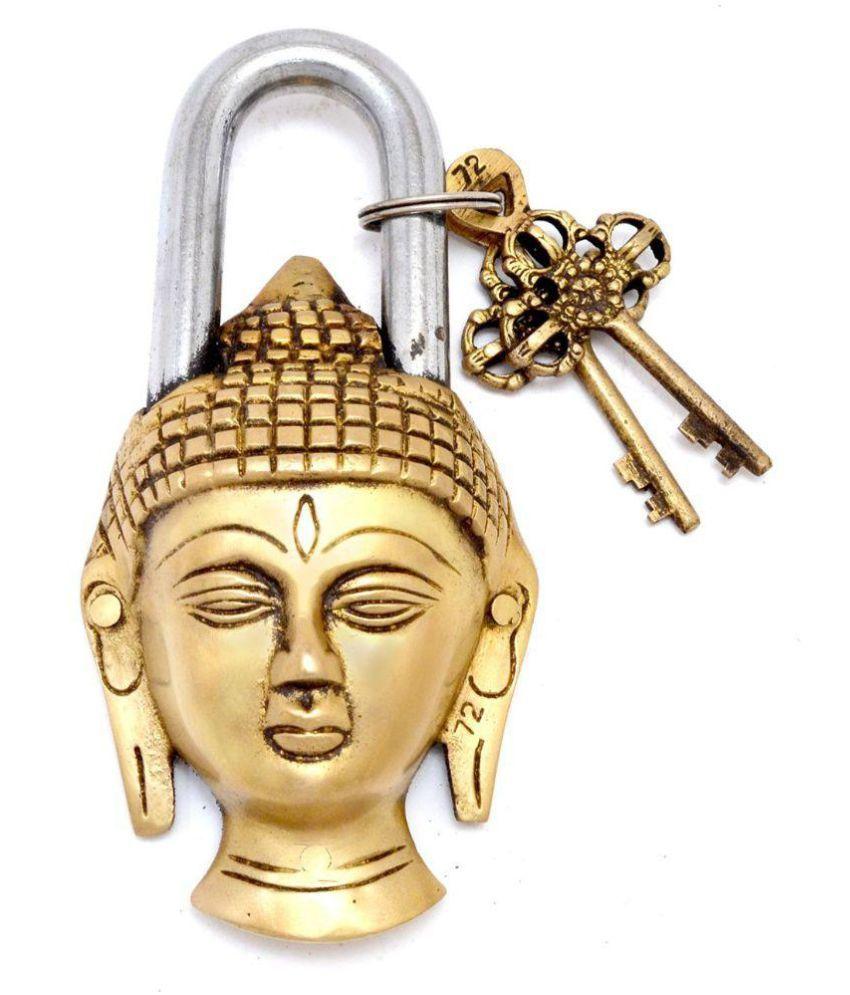 Buddha Design Functional Brass Lock with 2 Keys
