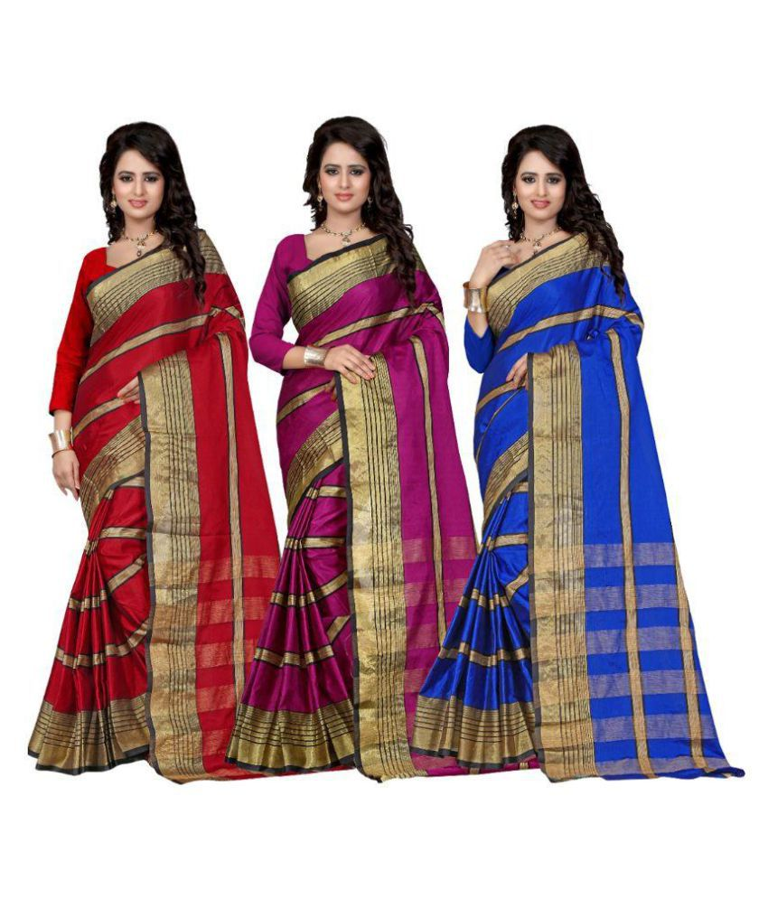 Edeal Online Multicoloured Cotton Saree Combos