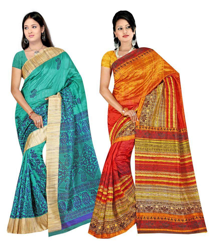 SareeShop Designer SareeS Multicoloured Bhagalpuri Silk Saree Combos